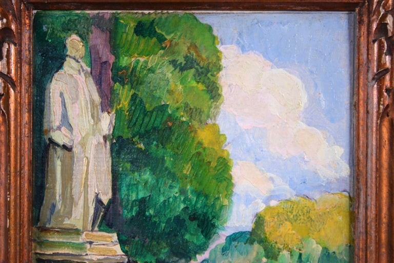 Le Jardin du Luxembourg - Paris - Post Impressionist Figurative Oil - P de Belay For Sale 4
