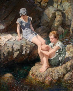 Little Fishes - Impressionist Oil, Figures in Landscape by Rowland Wheelwright