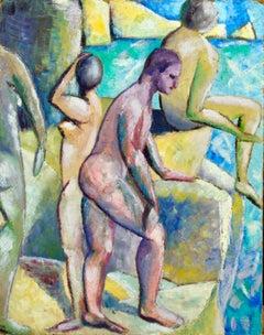 John Duncan Fergusson – Bathing at Eden Roc - Cubist Oil by Lois Hutton