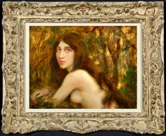 Woodland Nymph - Impressionist Oil, Portrait of a Nude by Leon Printemps