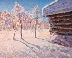 Coucher de soleil en hiver - Impressionist Oil, Snowy Landscape by M Guermacheff