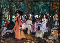 Elegantes au Parc - Impressionist Oil, Figures in Landscape by Lucien Simon