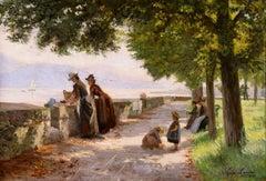 Laveuses - Lac Leman - Impressionist Oil, Figures in Landscape by L A Landre