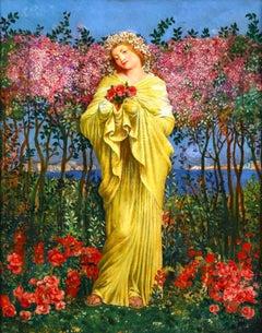 Picking Flowers - Symbolist Oil, Portrait of Woman in Landscape - Valere-Bernard
