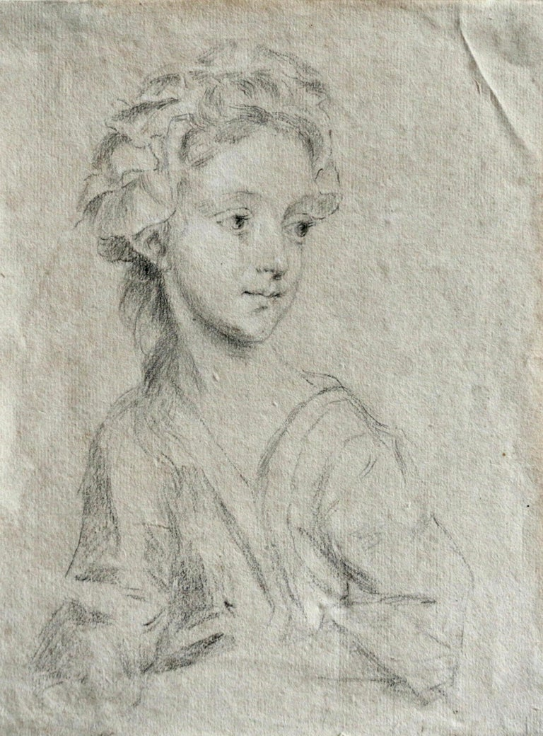 A delicate 18th century pencil on paper brilliantly detailed portrait of a girl purchased from