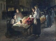 Paris Market-Night - 19th Century Gouache, Figures in Market by Victor Gabriel