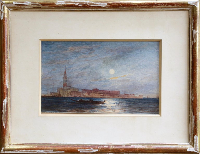 Venice - Moonlight - 19th Century Watercolour, Gondola's on Lagoon by Félix Ziem - Art by Felix Ziem