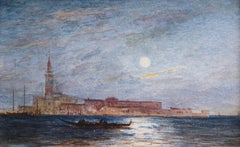 Venice - Moonlight - 19th Century Watercolour, Gondolas on Lagoon by Félix Ziem