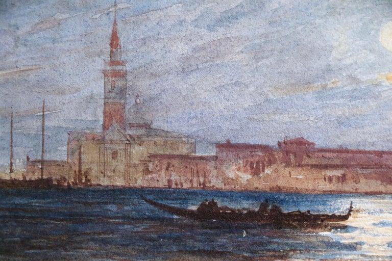 Venice - Moonlight - 19th Century Watercolour, Gondola's on Lagoon by Félix Ziem - Impressionist Art by Felix Ziem