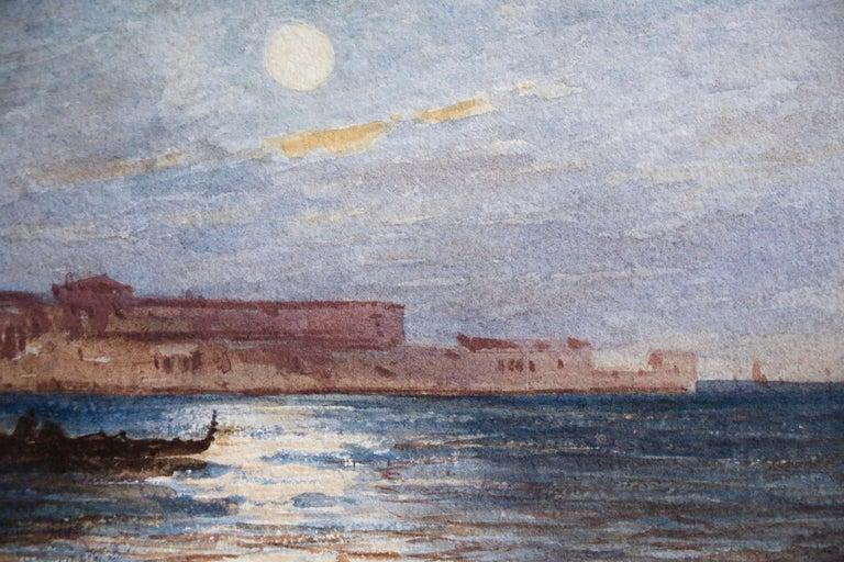 Venice - Moonlight - 19th Century Watercolour, Gondola's on Lagoon by Félix Ziem - Gray Landscape Art by Felix Ziem