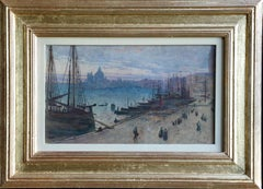 Venice- 19th Century Watercolour, Figures & Boats at Harbour by Frederick Walker