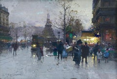 Place de la Bastille - 19th Century Oil, Figures City Landscape by Galien-Laloue