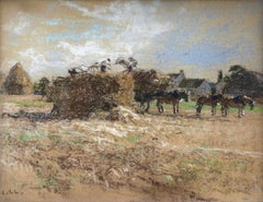 Haymaking - Messy, Seine-et-Marne - Figures & Horses in Landscape by Lhermitte
