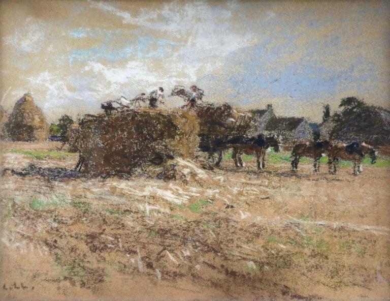 Léon Augustin Lhermitte Landscape Art - Haymaking - Messy, Seine-et-Marne - Figures & Horses in Landscape by Lhermitte