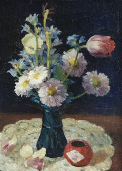 Fleurs - 19th Century Oil, Still Life of Flowers in Interior by Liu Qixiang