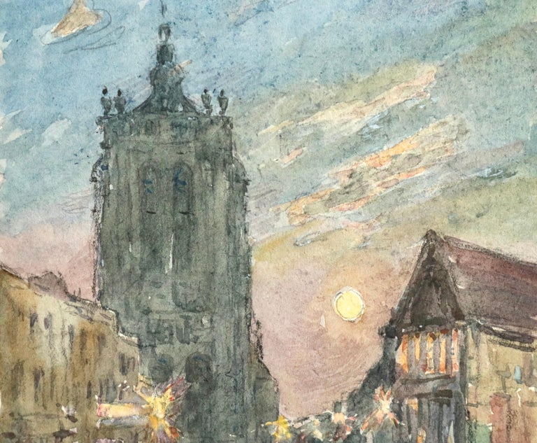 L'Église - 19th Century Watercolor, Figures in Street by Church by Henri Duhem For Sale 3