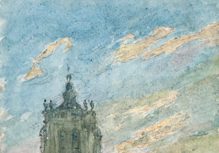 L'Église - 19th Century Watercolor, Figures in Street by Church by Henri Duhem For Sale 4