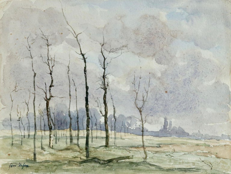Watercolour on paper by French painter Henri Duhem depicting trees in winter. Signed lower left. This painting is not currently framed but a suitable frame can be sourced if required.  Descendant of an old Flemish family, Henri Duhem was born in