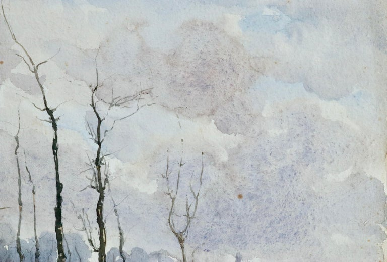 Hiver - 19th Century Watercolour, Trees in Winter Landscape by Henri Duhem For Sale 1
