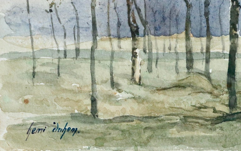 Hiver - 19th Century Watercolour, Trees in Winter Landscape by Henri Duhem For Sale 2