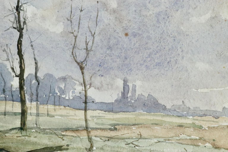 Hiver - 19th Century Watercolour, Trees in Winter Landscape by Henri Duhem For Sale 3