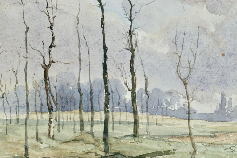 Hiver - 19th Century Watercolour, Trees in Winter Landscape by Henri Duhem For Sale 4