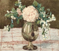 Roses & Symphorine - 19th Century Watercolor, Still Life Flowers in Vase -Duhem