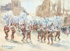 Les Gilles de Binche - 19th Century Watercolor, Figures Belgian Carnival H Duhem