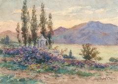 Près du Lac - 19th Century Watercolor, Mountain & Lake Landscape by Henri Duhem