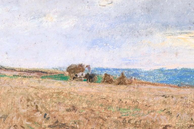Harvesting - 19th Century Pastel, Worker in Field Landscape by L A Lhermitte - Barbizon School Art by Léon Augustin Lhermitte