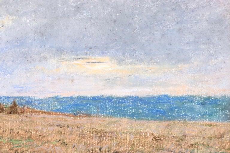 Harvesting - 19th Century Pastel, Worker in Field Landscape by L A Lhermitte - Brown Landscape Art by Léon Augustin Lhermitte