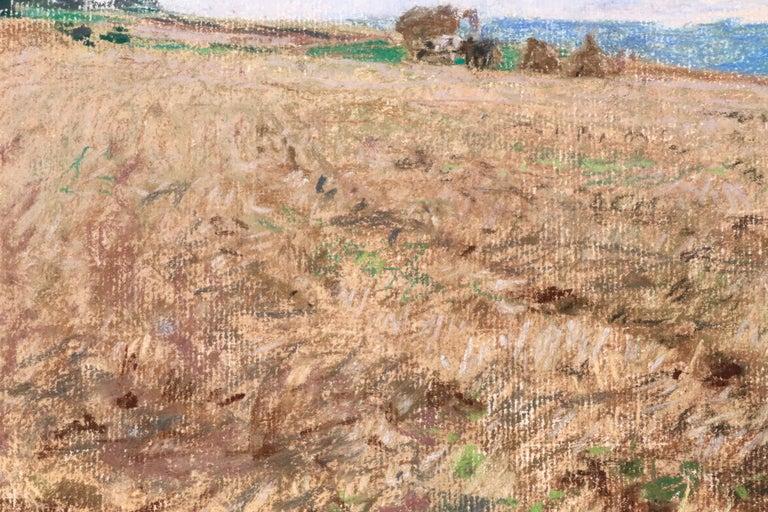Harvesting - 19th Century Pastel, Worker in Field Landscape by L A Lhermitte For Sale 1