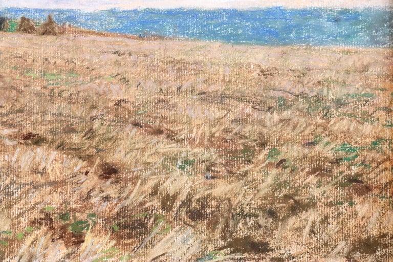 Harvesting - 19th Century Pastel, Worker in Field Landscape by L A Lhermitte For Sale 2