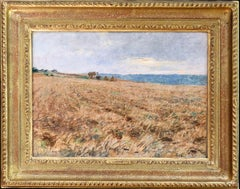 Harvesting - 19th Century Pastel, Worker in Field Landscape by L A Lhermitte