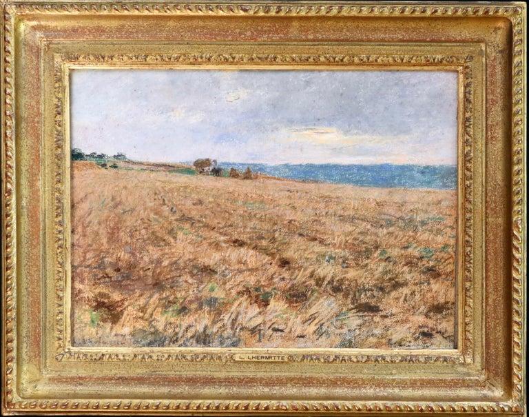 Léon Augustin Lhermitte Landscape Art - Harvesting - 19th Century Pastel, Worker in Field Landscape by L A Lhermitte