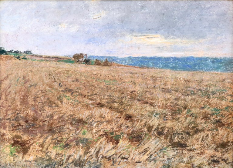 Harvesting - 19th Century Pastel, Worker in Field Landscape by L A Lhermitte - Art by Léon Augustin Lhermitte