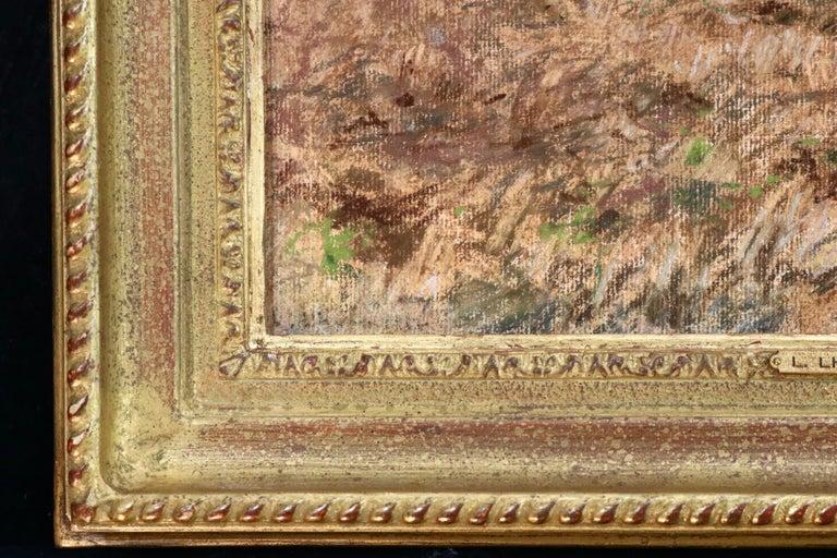 Harvesting - 19th Century Pastel, Worker in Field Landscape by L A Lhermitte For Sale 3