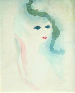Tête de Femme - 20th Century Watercolor, Portrait of a Woman by Marie Laurencin