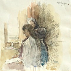 Marie et Angelique - 19th Century Watercolor, Figures in Interior by Henri Duhem
