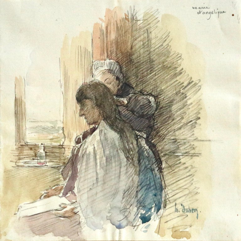 """Watercolour on paper circa 1910 by Henri Duhem, depicting a maid, """"Angelique"""", tending to the artist's wife, Marie. Signed lower right and titled upper right. This painting is not currently framed but a suitable frame can be sourced if"""