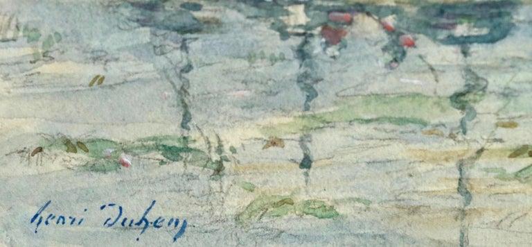 Sur les Bateaux - 19th Century Watercolor, Boats on River Landscape by H Duhem - Art by Henri Duhem