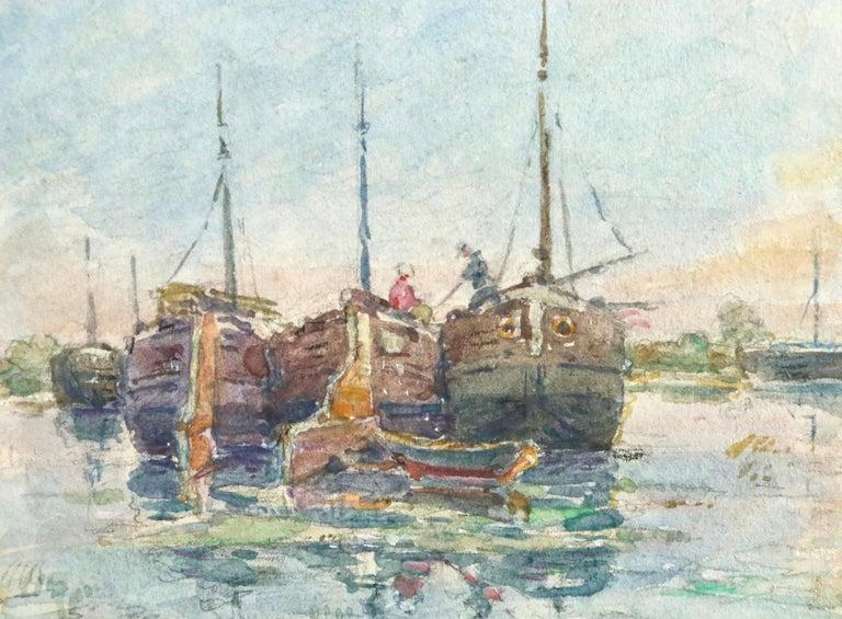 Sur les Bateaux - 19th Century Watercolor, Boats on River Landscape by H Duhem - Impressionist Art by Henri Duhem