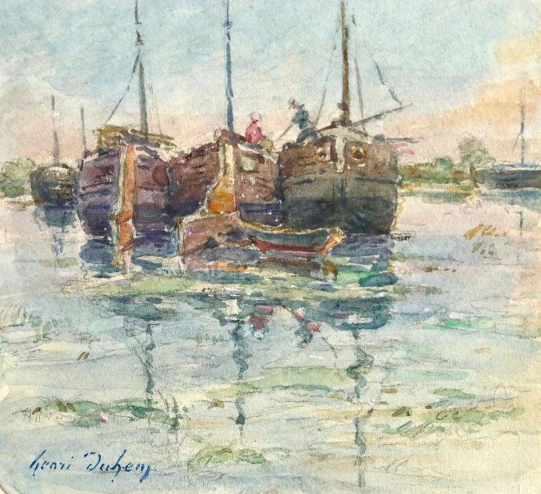 Sur les Bateaux - 19th Century Watercolor, Boats on River Landscape by H Duhem - Gray Landscape Art by Henri Duhem