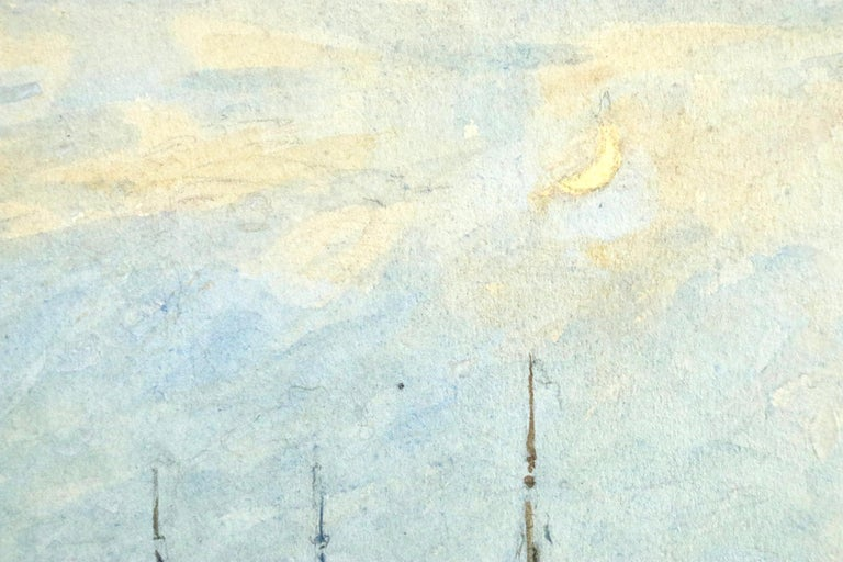 Watercolour on paper circa 1910 by Henri Duhem depicting figures on boats on the river, with a crescent moon in the sky. Signed lower left. This painting is not currently framed but a suitable frame can be sourced if required.  Descendant of an old