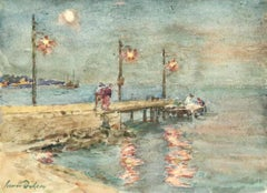 The Harbour-Dusk - 19th Century Watercolor, Figures by Sea Landscape by H Duhem