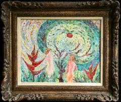 Adam & Eve - 20th Century Oil, Religious Figures in Landscape - Madeline Clavier