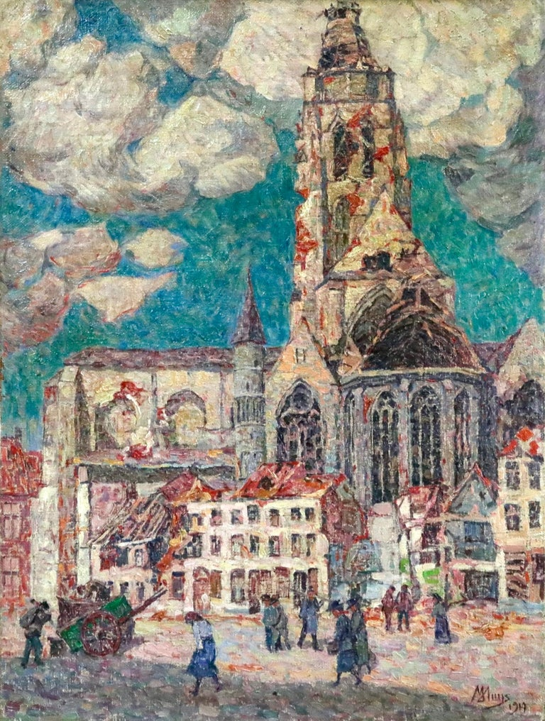 A beautifully painted Post-Impressionist oil on canvas by Modest Huys. The painting depicts figures in a street scene in front a church with thick white and grey clouds in the sky. The work shows the bomb damaged buildings of Oudenarrade in 1919 -