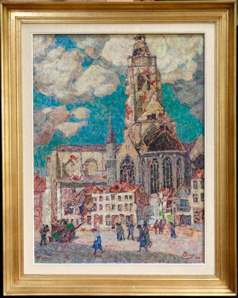 La Tour Blessée, Oudenaarde - 20th Century Oil, Figures Cityscape by Modest Huys For Sale 1