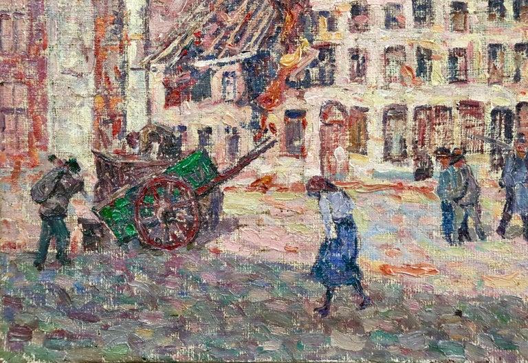 La Tour Blessée, Oudenaarde - 20th Century Oil, Figures Cityscape by Modest Huys For Sale 2