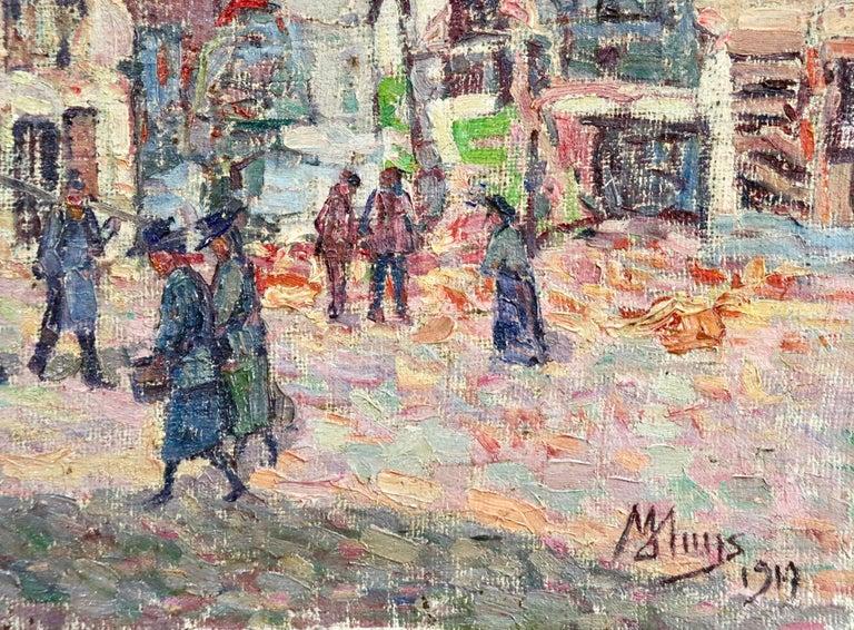La Tour Blessée, Oudenaarde - 20th Century Oil, Figures Cityscape by Modest Huys For Sale 3